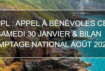 OPPL : APPEL A BENEVOLES CE SAMEDI 30 JANVIER & BILAN COMPTAGE NATIONAL AOUT 2020